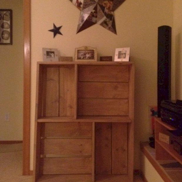Diy wood crate shelves projects to calm the clutter effectively 36