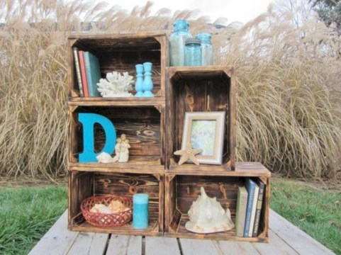 Diy wood crate shelves projects to calm the clutter effectively 46