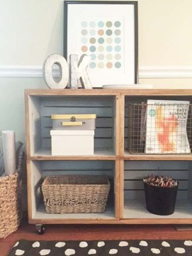 Diy wood crate shelves projects to calm the clutter effectively 48