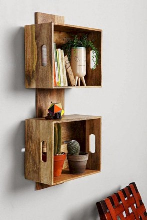 Diy wood crate shelves projects to calm the clutter effectively 53