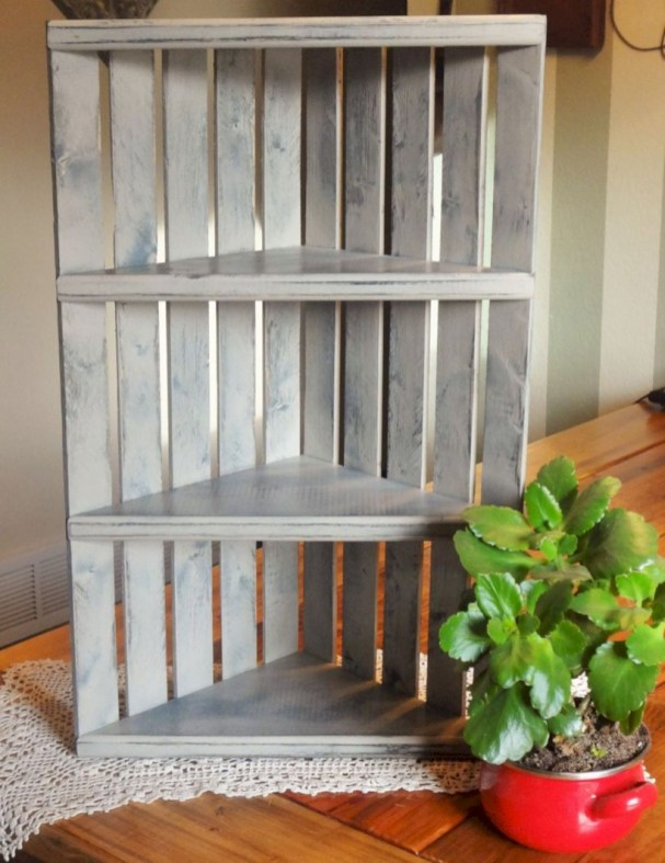 Diy wood crate shelves projects to calm the clutter effectively 54