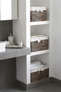Built-in bathroom shelf and storage ideas to keep your bathroom organized 14