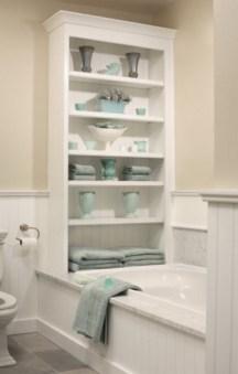 Built-in bathroom shelf and storage ideas to keep your bathroom organized 37