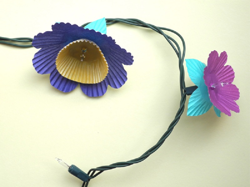 DIY Colorful Cupcake Flower Lights