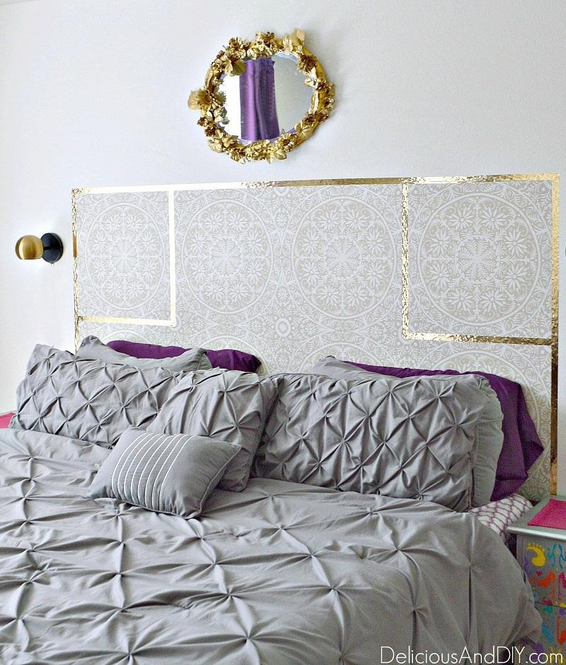 DIY Removable Wallpaper Headboard