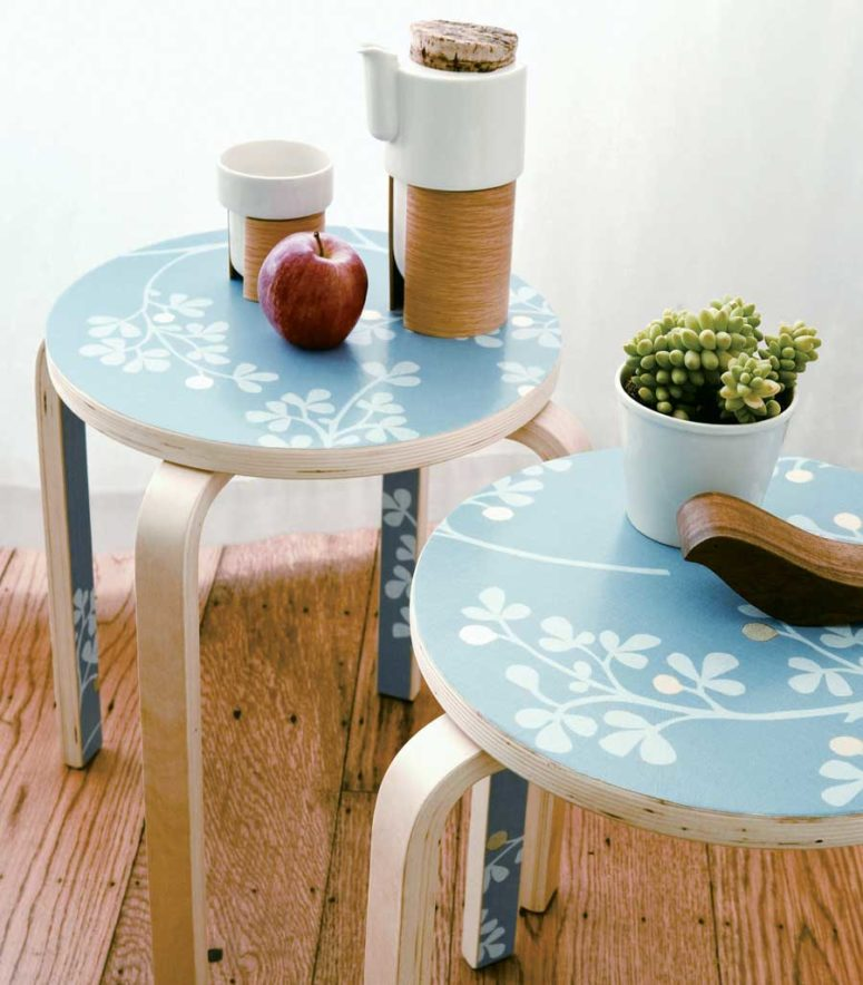 DIY Wallpaper Side Table
