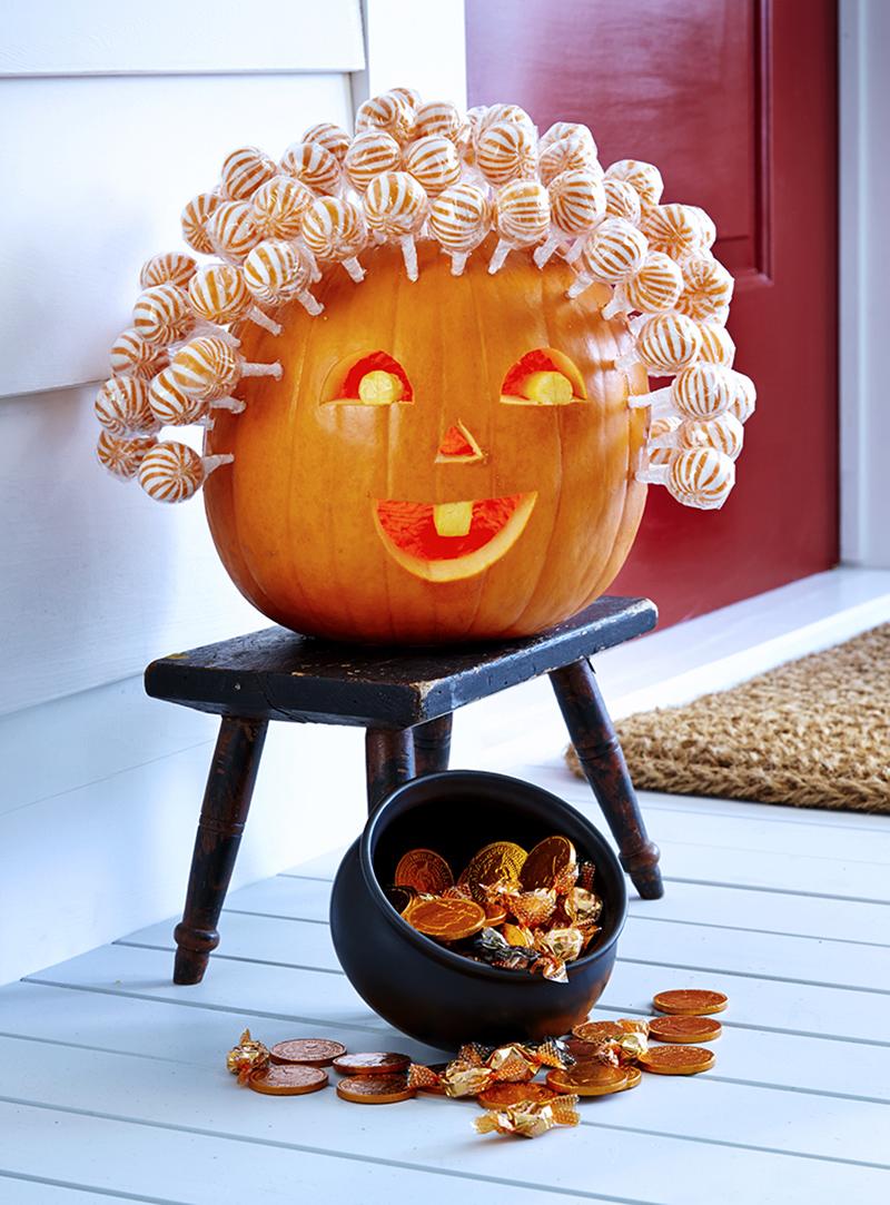 Pumpkin With Orange Lollipops