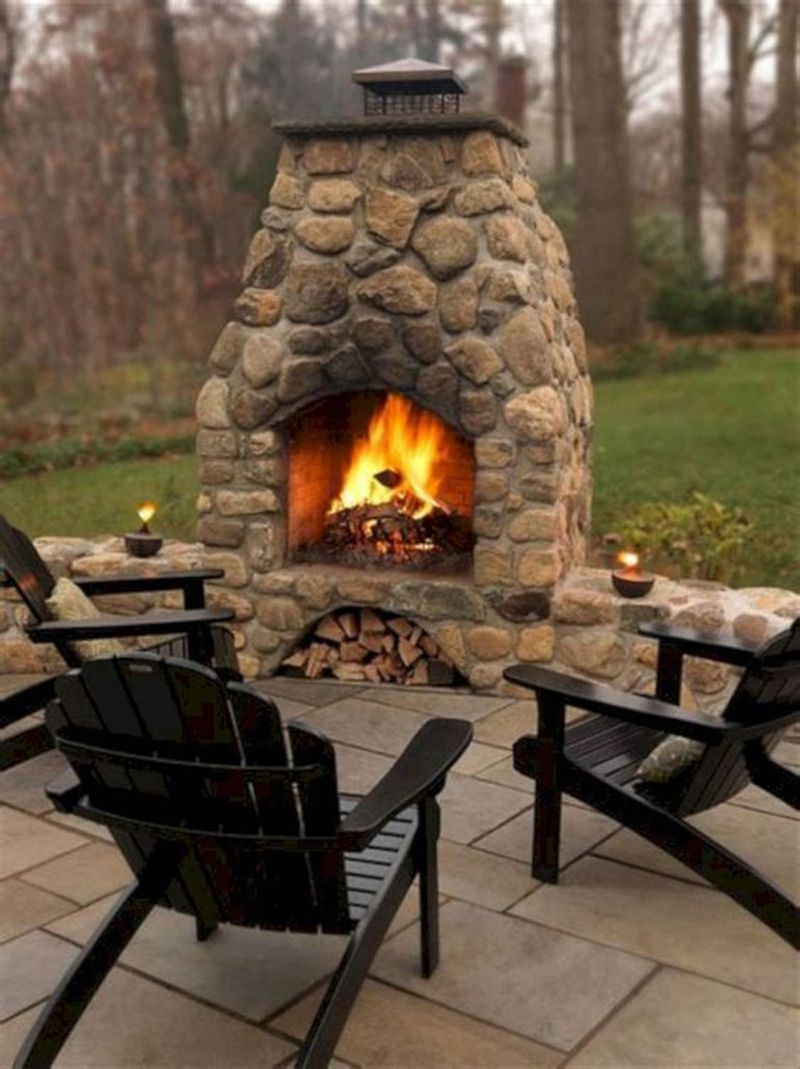 25 Beautiful Outdoor Fireplace Design Ideas - GODIYGO.COM on Small Outdoor Fireplace Ideas id=78273