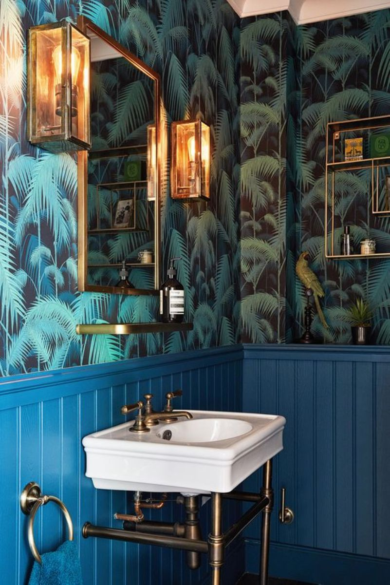 green tropical leaf print wallpaper
