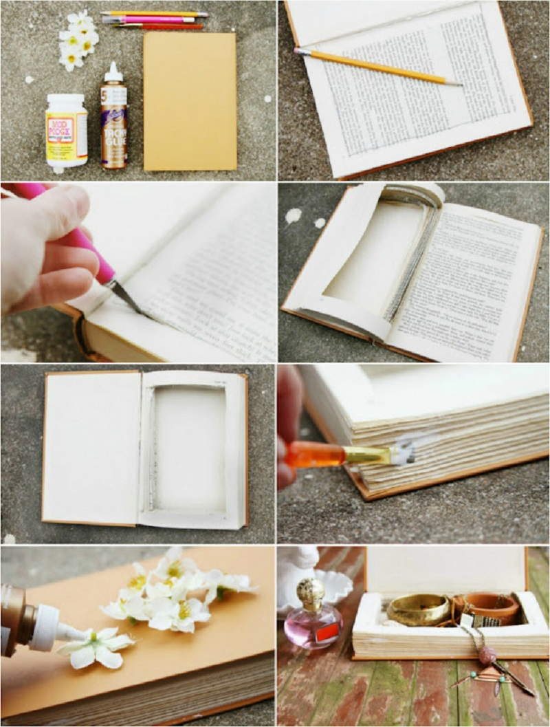 How To Transform Your Old And Unused Book Into Cute And Charming Jewelry Box