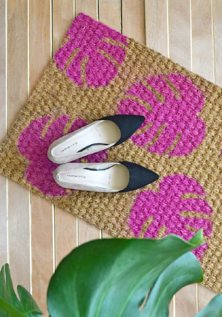 Diy bright pink monstera leaves doormat