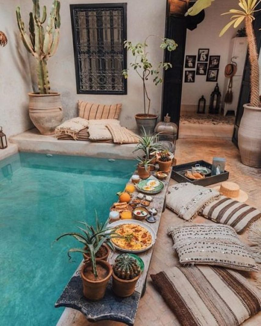 Boho pool space with moroccan touches