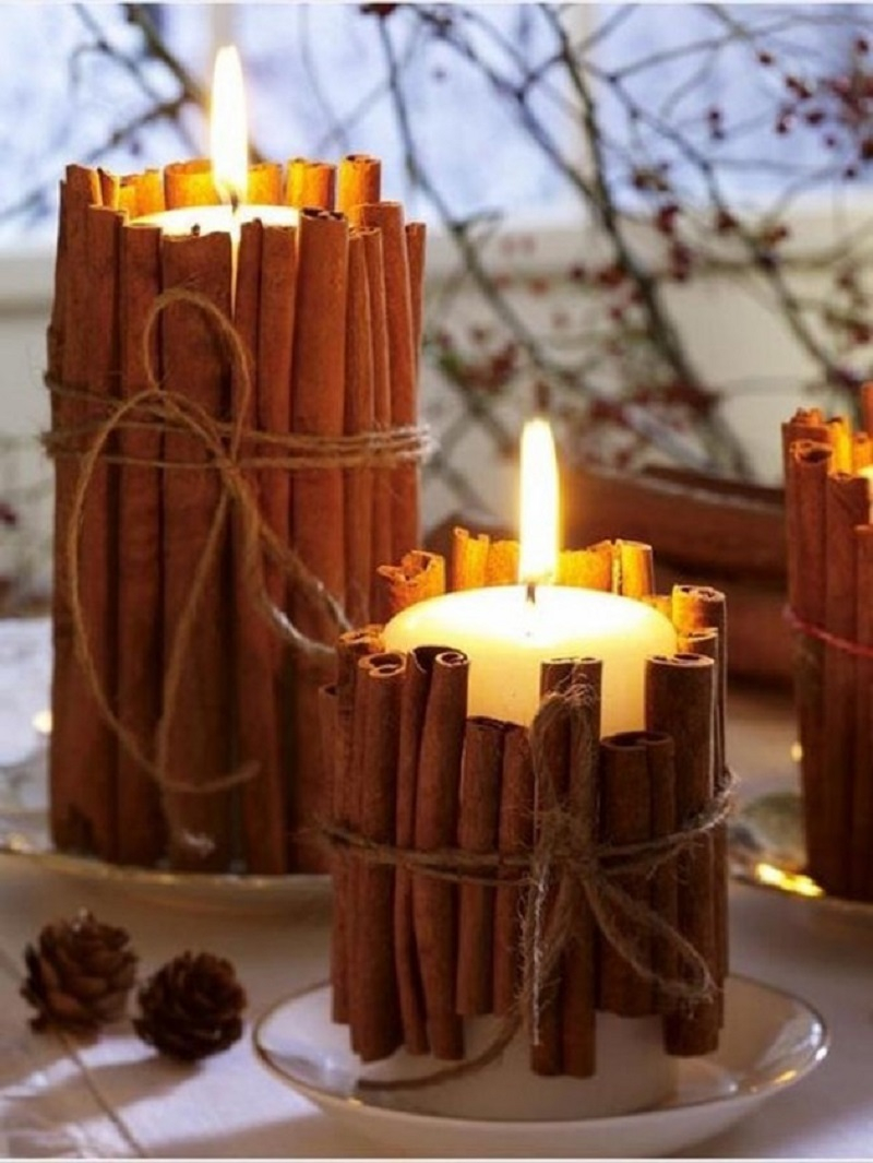 Cinnamon candle pillars