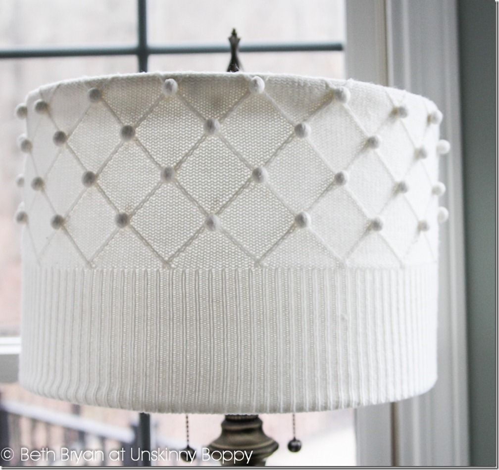 Repurpose old sweater into a lampshade Extra Appealing DIY Lampshades To Brighten Up Your Room Every Day