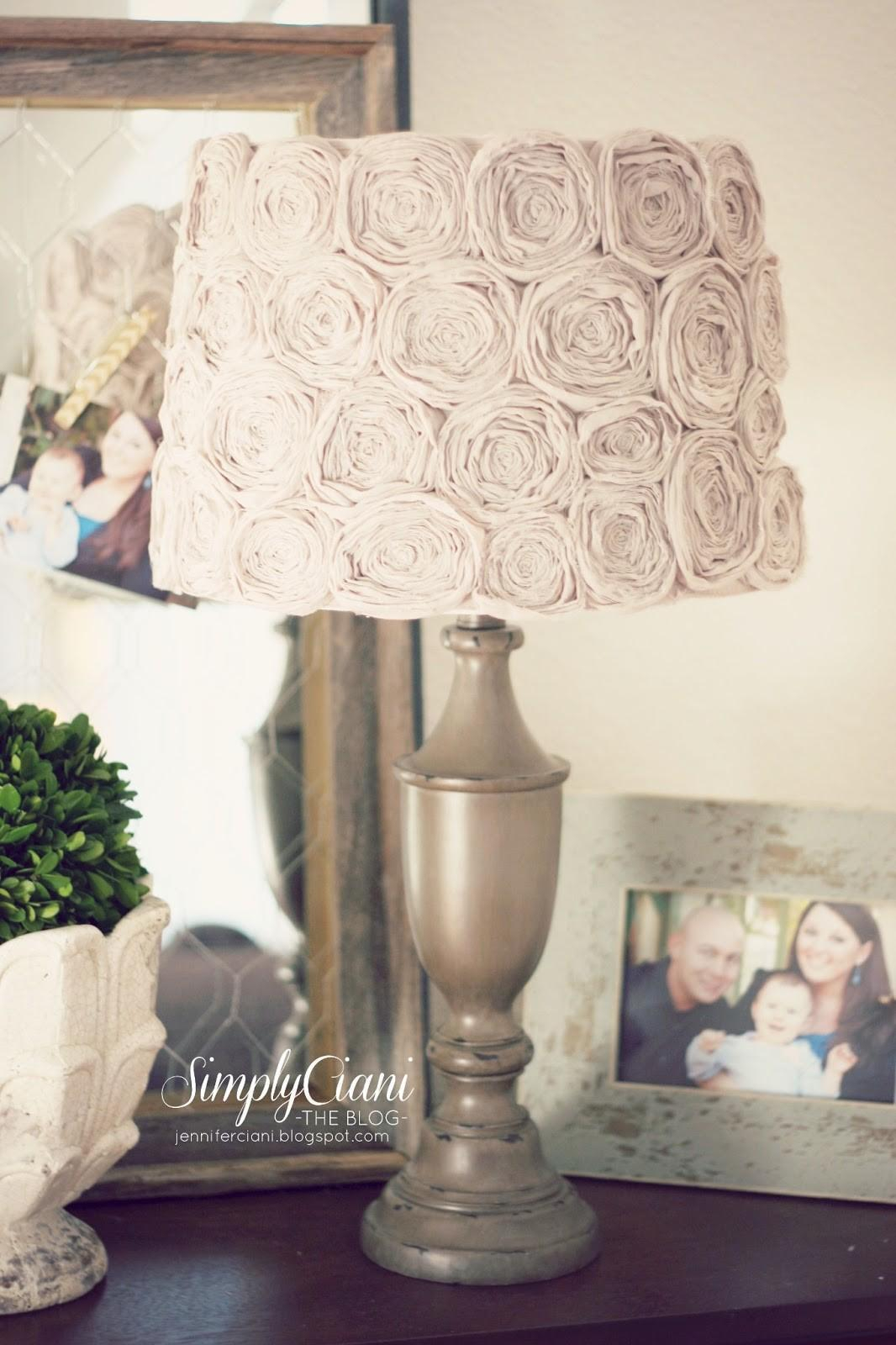 Shabby Chic Look With Handmade Rosettes Extra Appealing DIY Lampshades To Brighten Up Your Room Every Day