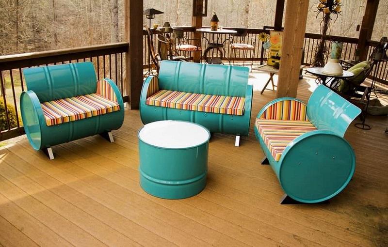 Steel drum patio seating set