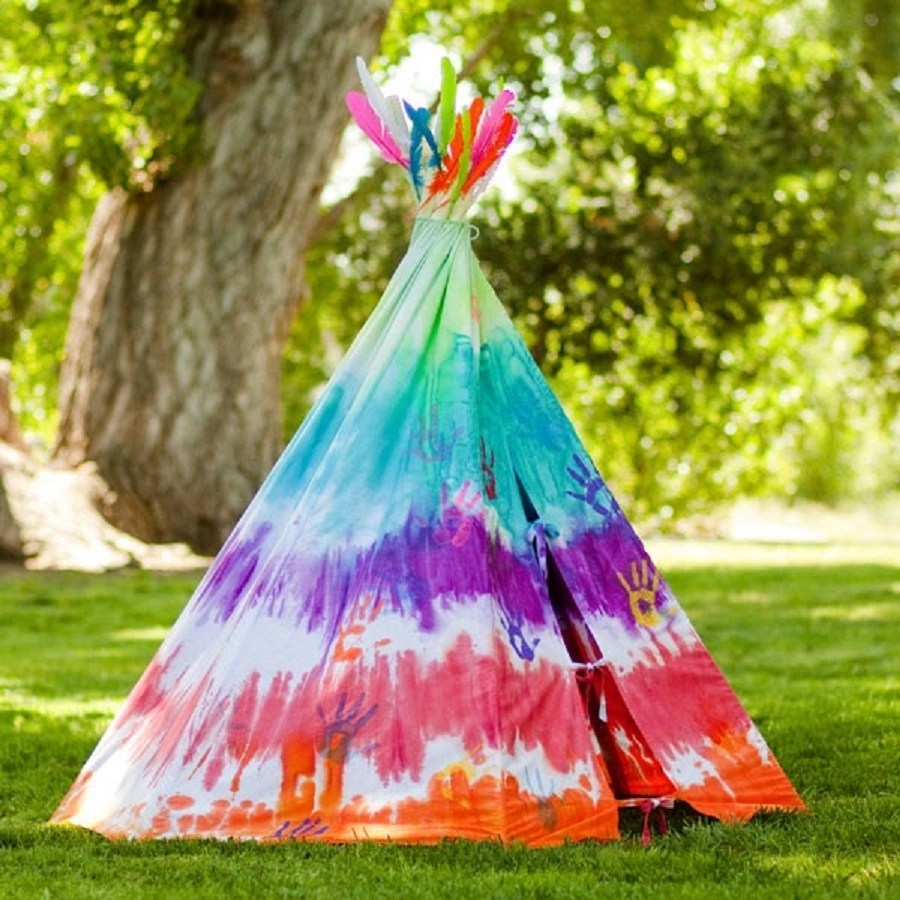 Tie-dye teepee DIY Wild Teepee Ideas That You And Your Kids Feel So Funny To Stay