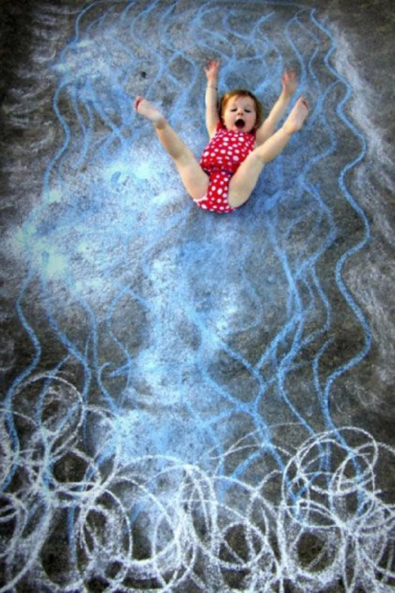 White-water rapids DIY Chalk Art Ideas To Create The Coolest Sidewalk Where Every One Want