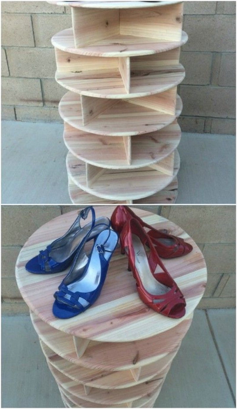Wooden spinning shoe carousel DIY Shoe Rack Ideas That Perfect For Your Family To Have Easy Shoes Hunting