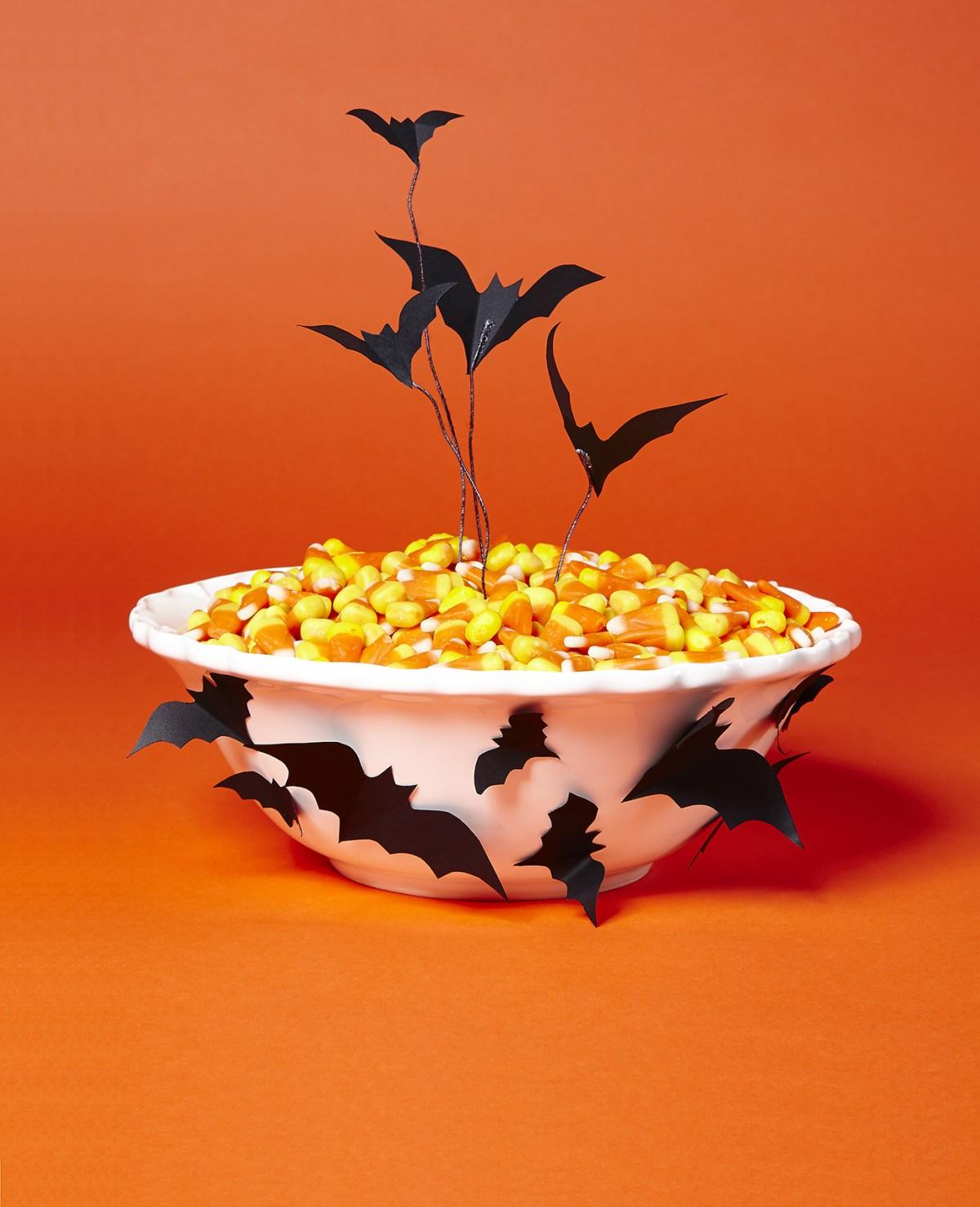 Bats bowl DIY Halloween Candy Bowls You Can Serve For Halloween Treats