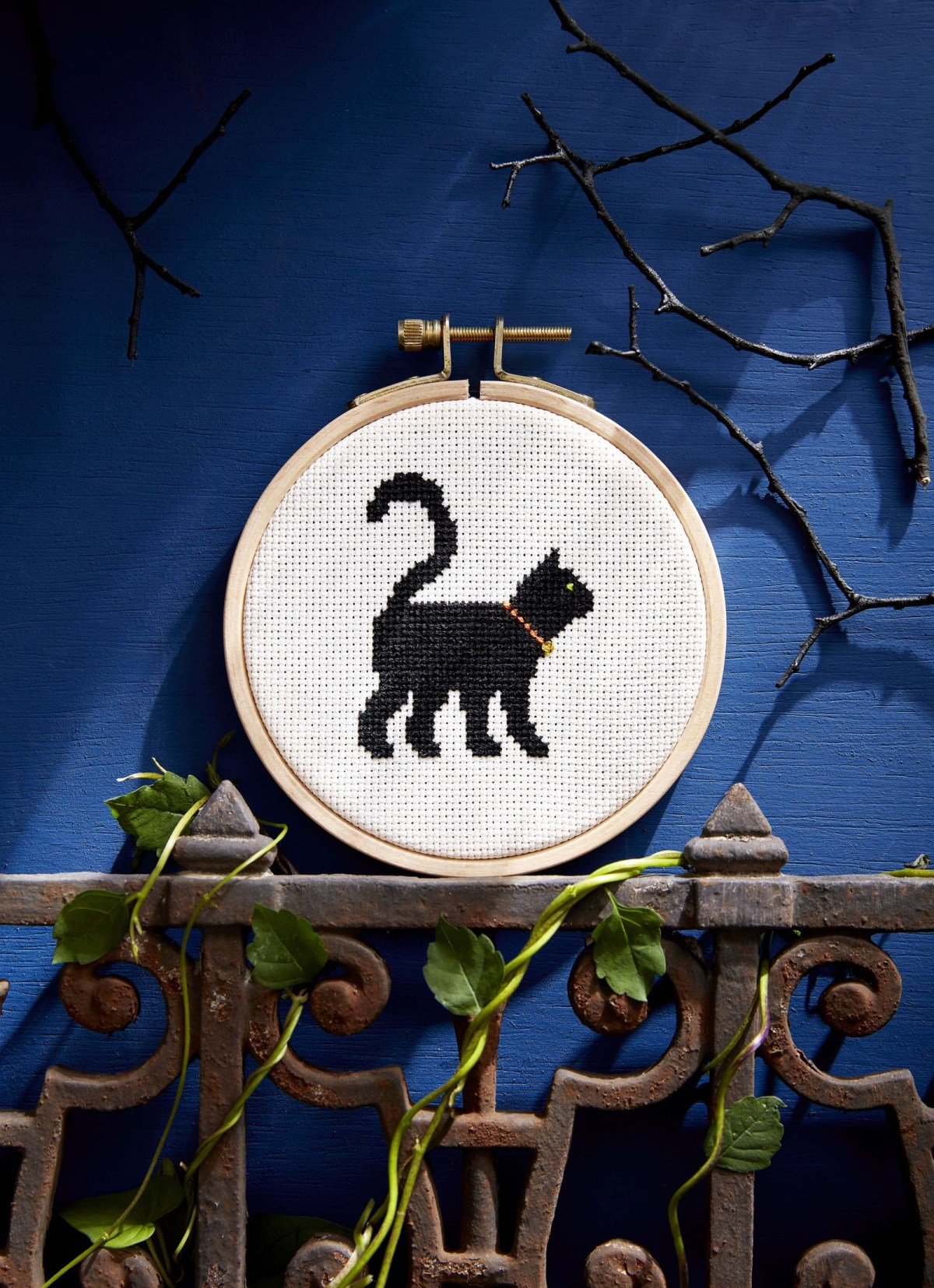Black cat cross-stitch DIY Effortless Halloween Crafts For Kids To keep Them Busy This Month