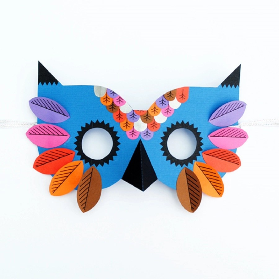 Colorful owl mask DIY Priceless Halloween Masks Ideas For Your Kids To Boost The Party Spirit
