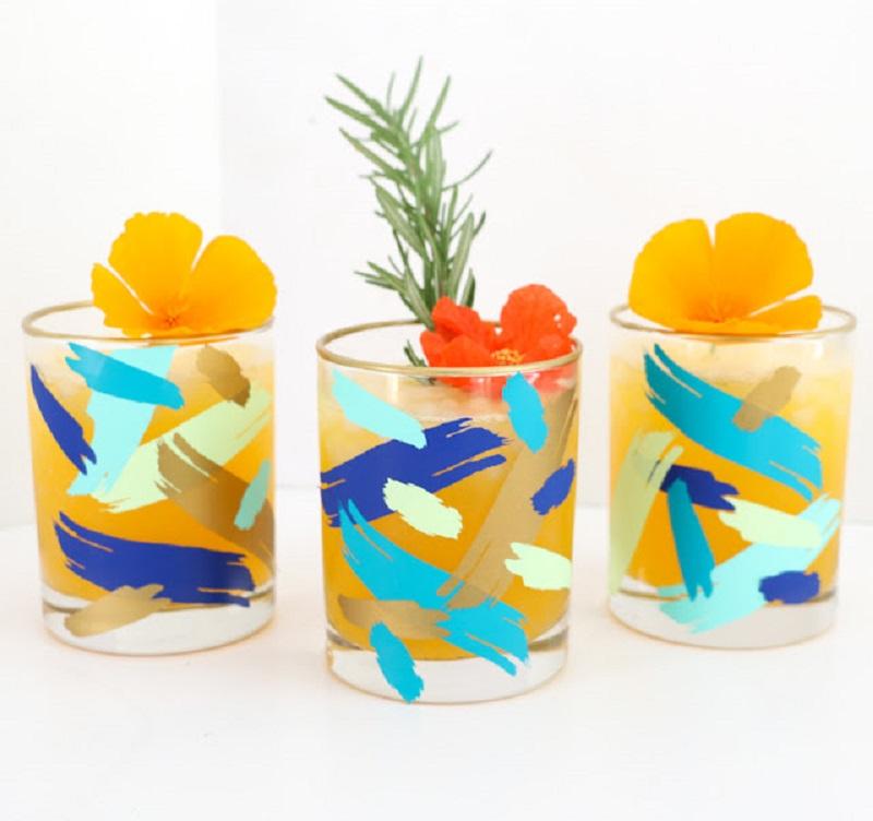 Diy brushstroke glasses for summer party
