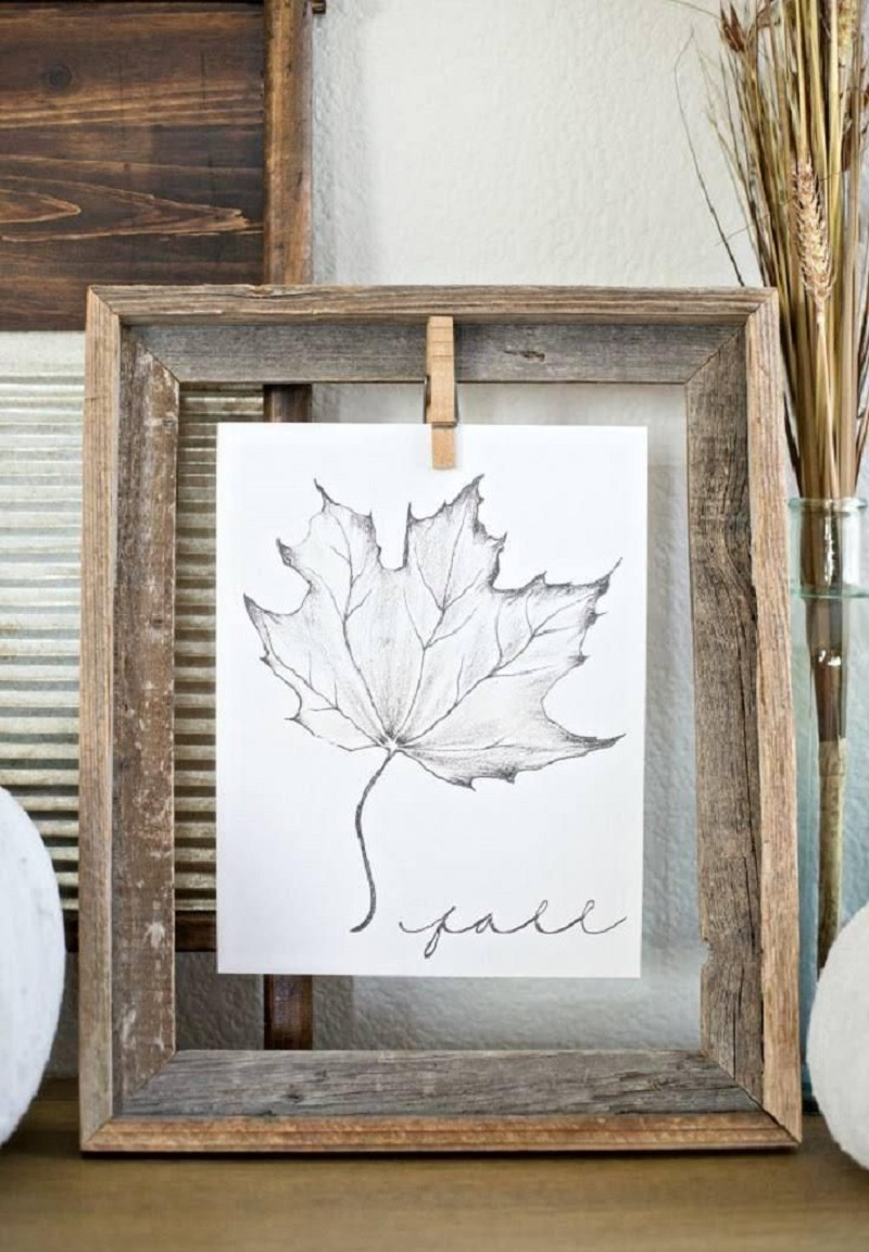 Printed falls leaves for wall - copy DIY Numerous Elegant Ways To Decorate With Leaf This Fall