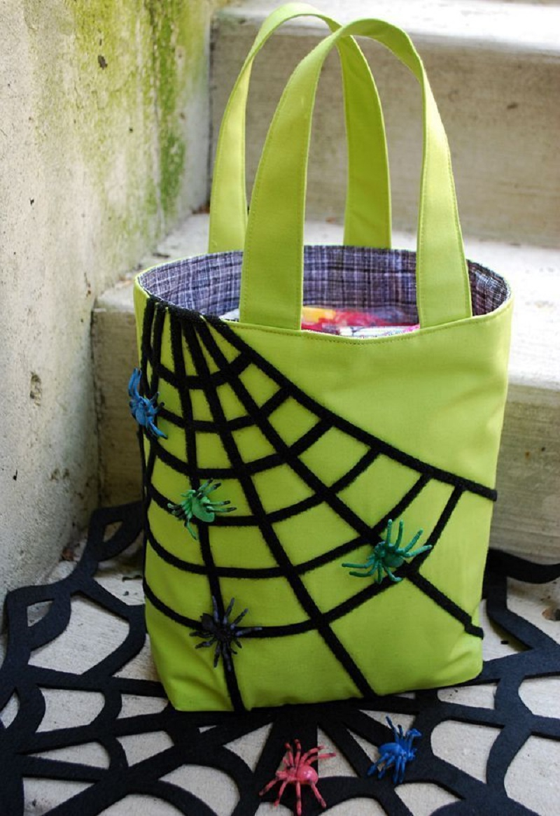 Sticky spiderweb bag Striking DIY Halloween Trick-Or-Treat Bags As Your Crafting With Kids Projects