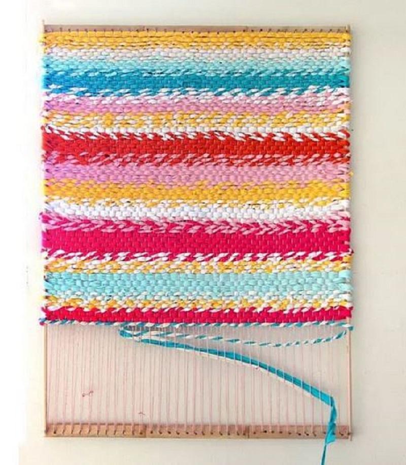 Striped throw rug