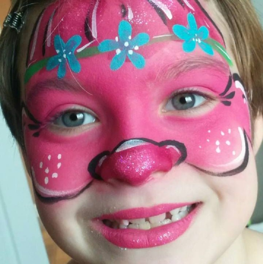 Trolls face paint Incredible Halloween Face Paint Ideas For Kids That Unartistic Parents Can Attempt