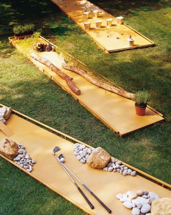 Back garden mini golf DIY Garden Ideas To Serve A Playhouse For Your Family Member