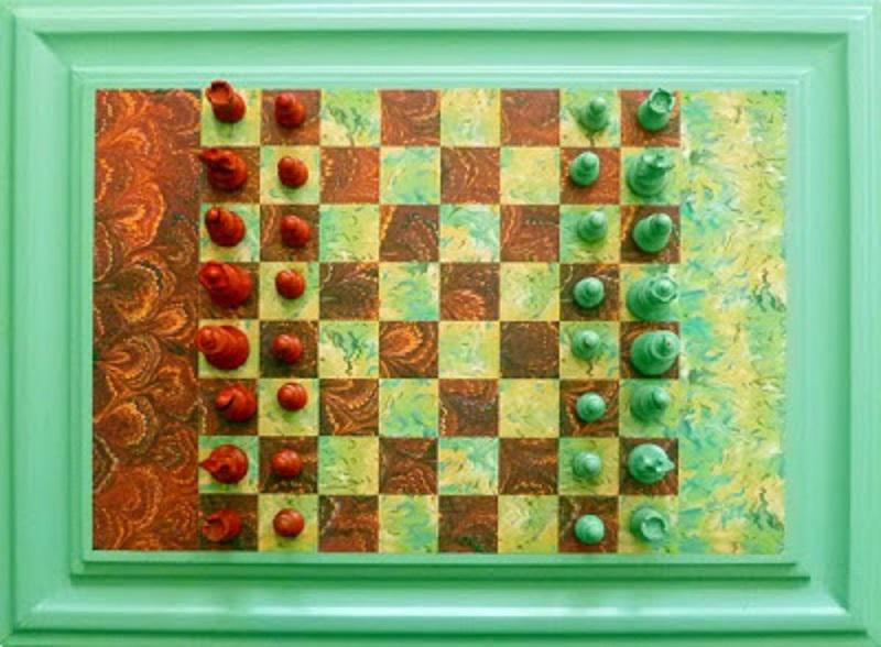 Cabinet door chess board diy