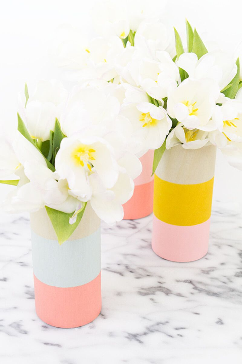 Diy color blocked wood vases Unforgettable DIY Gift Ideas You Can Create For Someone Close To You