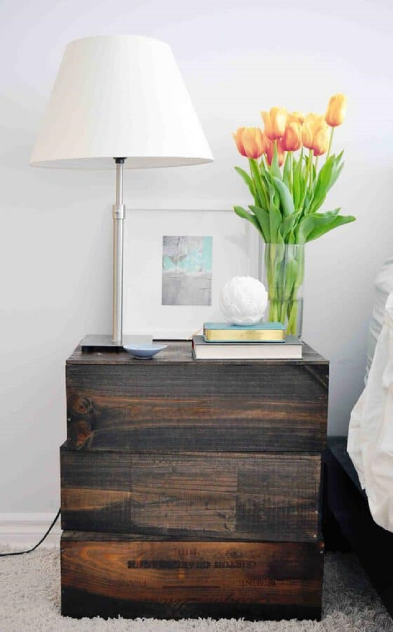 Diy dark stained wood crate nightstand