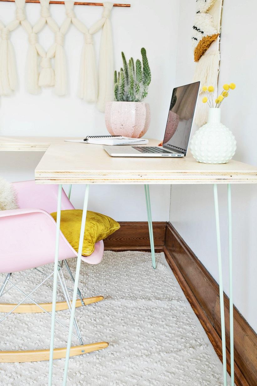 Diy hairpin desk for office room