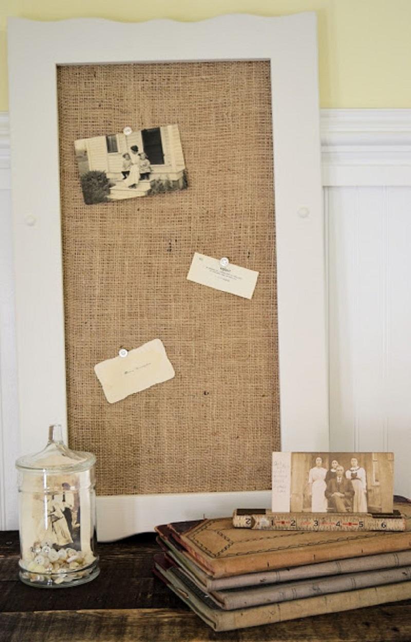 Diy repurposed cabinet door into bulletin board