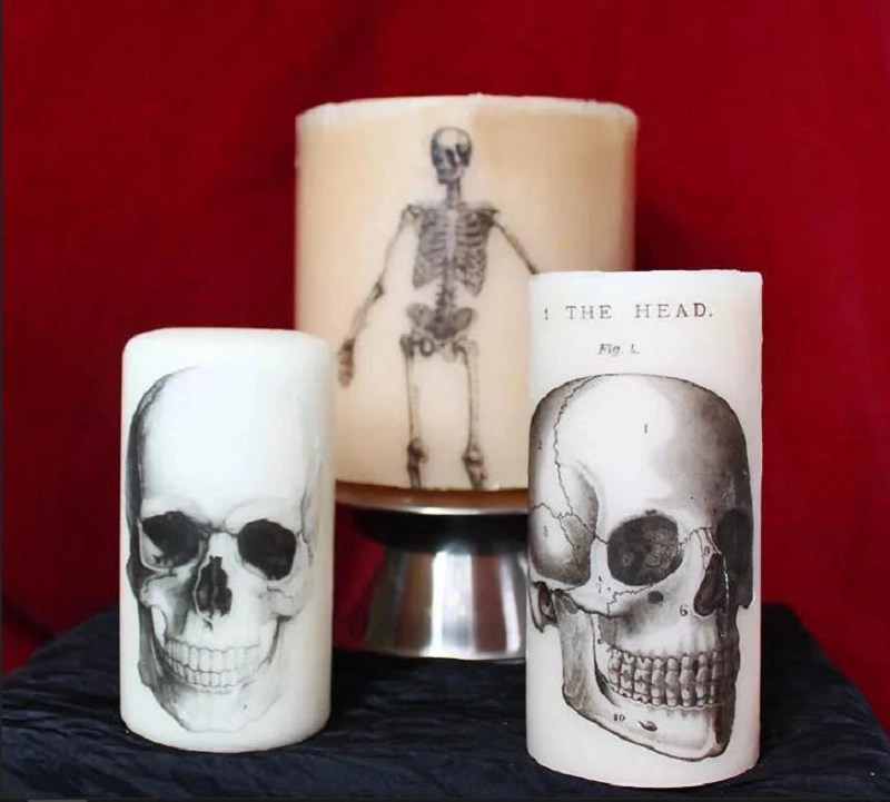 Diy skull halloween candle