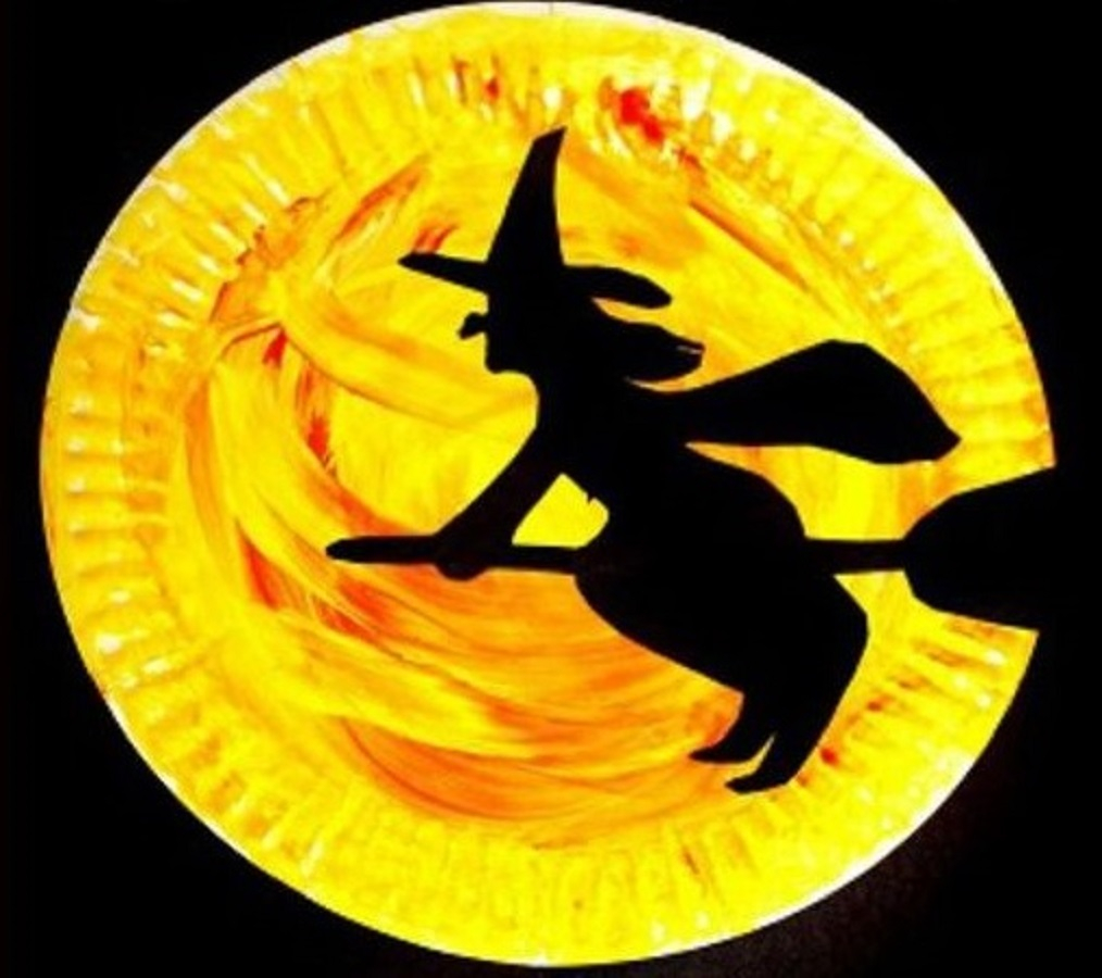 Halloween paper plate silhouette crats Indescribable DIY Paper Plate Crafts To Complete Your Halloween Celebration