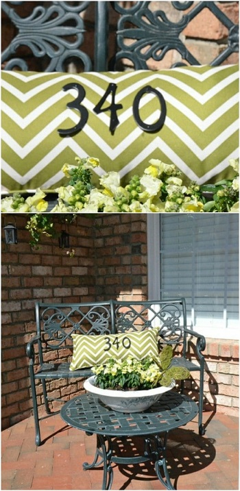 House number pillow DIY Unique Ideas of House Number You Can Create To Advance Your Home Presentation