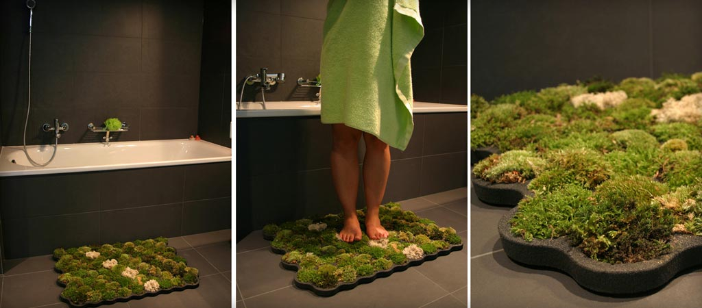Mossy green bath mats DIY Spa-Like Bathroom Mat Ideas That Made Of Nature Materials.