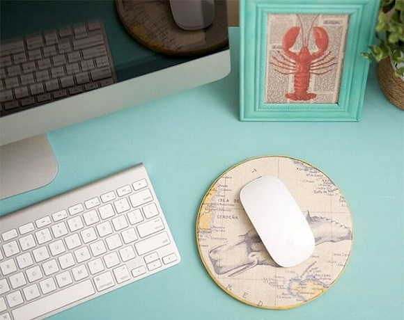 Scrapbook paper and cork mouse pad DIY Never Boring Mouse Pad Ideas With Simple Materials