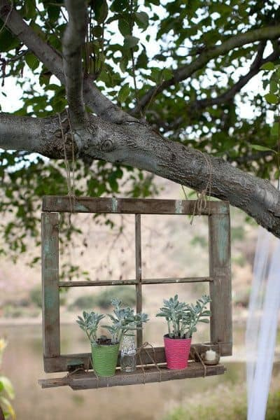 Tree hung picture window DIY Out Of The Box Ideas Repurposing Old Windows For Best Furniture