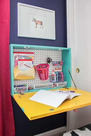 Wall mounted drop down desk DIY Easy Build Kids Table And Chair Ideas That Not Require Skill Level