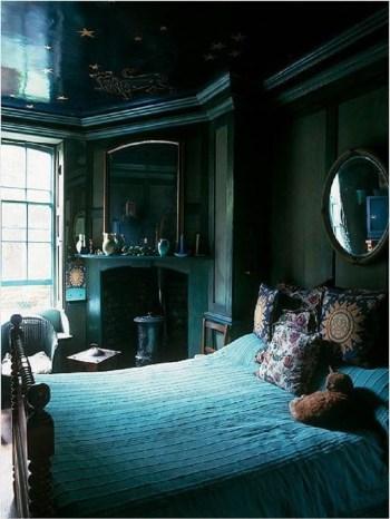 Bold yet moody bedroom