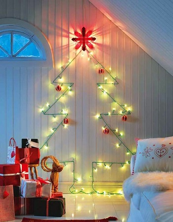 Adorable wall christmas tree lights DIY Beautiful Christmas Lights Decoration To Offer You Full Of Lights Life