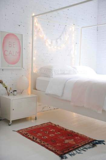 Bedroom with string lights