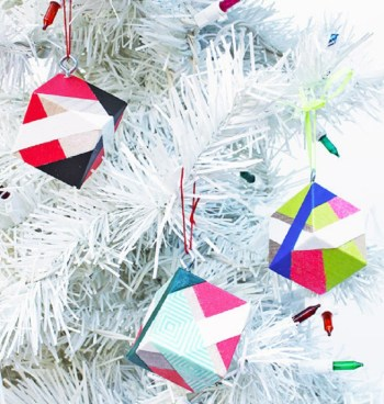 Cool diy color block christmas ornaments with bright tape