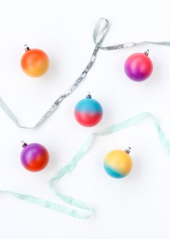 Diy color blocked spray painted ornaments