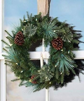 Evergreen christmas window wreath